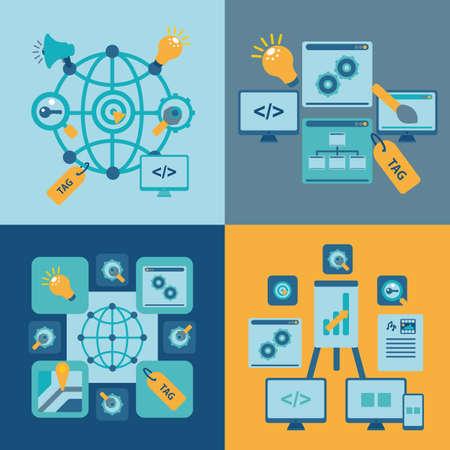 debugging: seo set for web site. vector format. Illustration