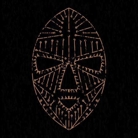 silk screen: African mask grunge clothes. vector format.