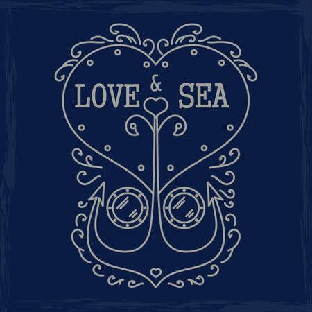 silk screen: love and sea emblem. Vector format.