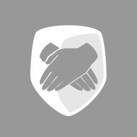 protect icon: The shield folded hands. Protect icon.
