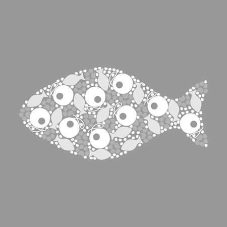feeds: pattern fish for cats, monochrome, vector format