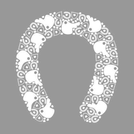stirrup: pattern horseshoes, monochrome, vector format