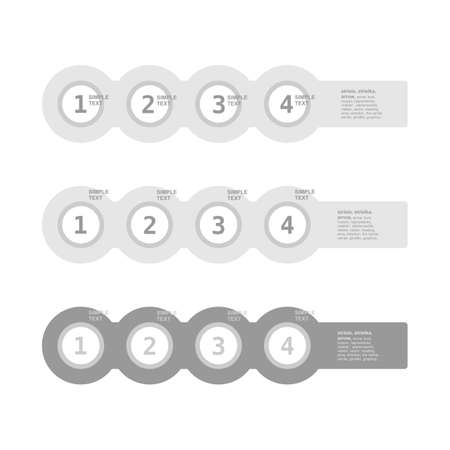 three pointer: Infogaphics simple. 4 steps - grey color. vector format.