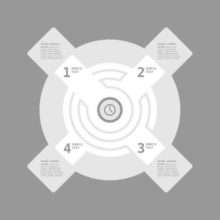 three pointer: Infogaphics time. 4 steps - grey color. vector format.