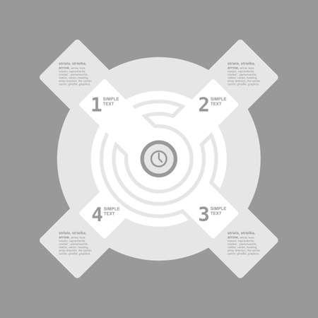 infogaphics: Infogaphics time. 4 steps - grey color. vector format.