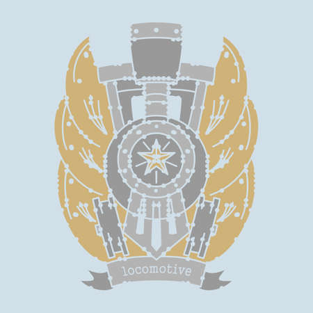 clothes rail: locomotive emblem for printing. vector format.