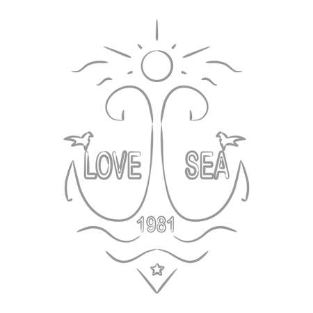 silk screen: love and the sea on a white background. vector format. Illustration