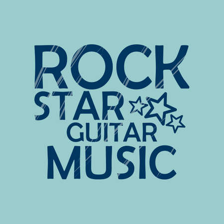 screen printing: Rock Music Star emblem vector format Illustration