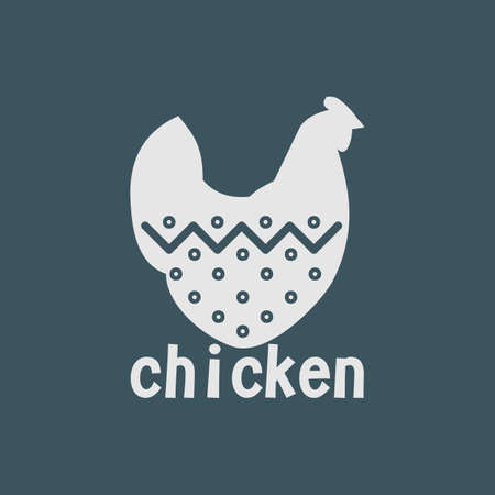 silk screen: chicken on a dark background, format. For grocery stores
