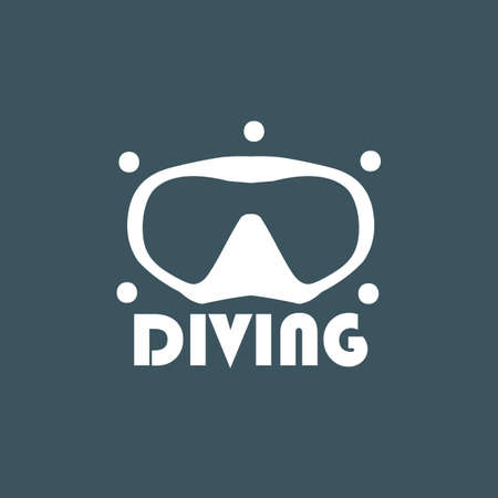 centers: diving, on a dark background. For diving centers. Illustration