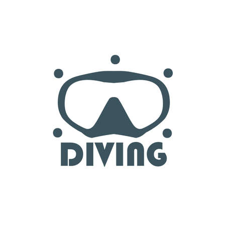 silk screen: diving on a white background. For diving centers.