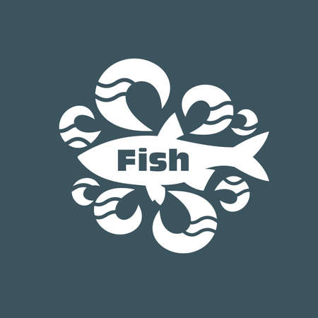 silk screen: Fish on dark background. For fish shops.