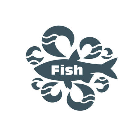 silk screen: Fish on a white background. For fish shops.