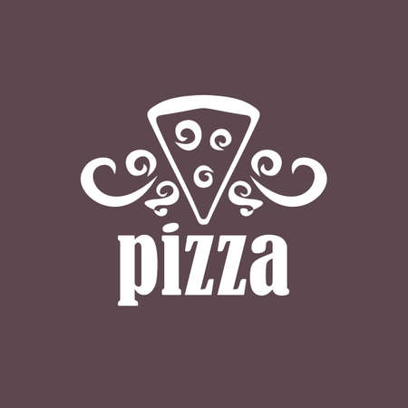 silk screen: pizza on a dark background. For cafes and shops. Illustration
