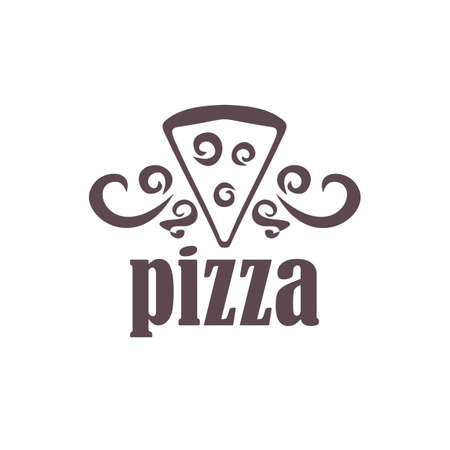 silk screen: pizza on a white background. For cafes and shops.