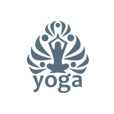 silk screen: Yoga, on a white background Illustration