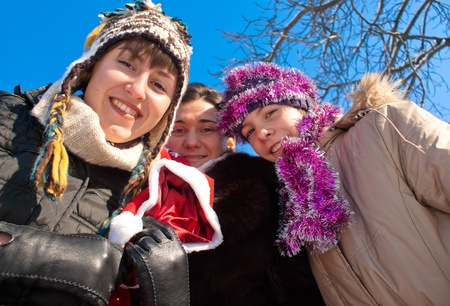 Girls holding a bag with Christmas presents Stock Photo - 8528391