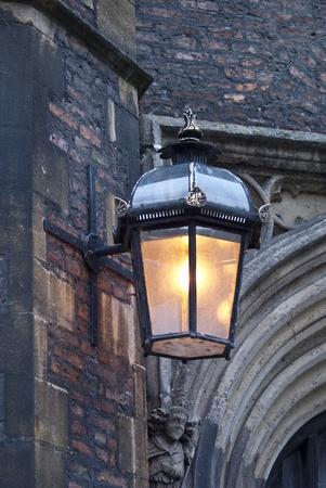 Old lantern at the street of Cambridge photo