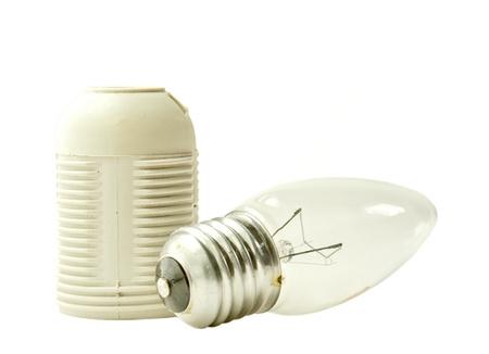 enchufe de luz: Bombilla y socket Foto de archivo