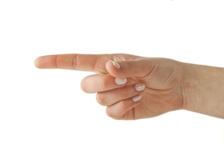 그녀의 손으로 여자 몸짓 방향 스톡 콘텐츠 - 9036517