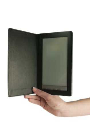 Hand holding an ebook reader on the white background