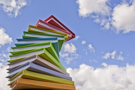 many colored: Stack of colored cover books Stock Photo