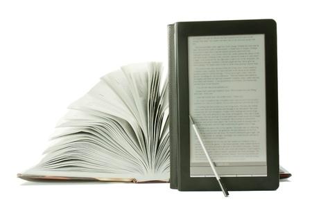 Open book and e-book reader photo
