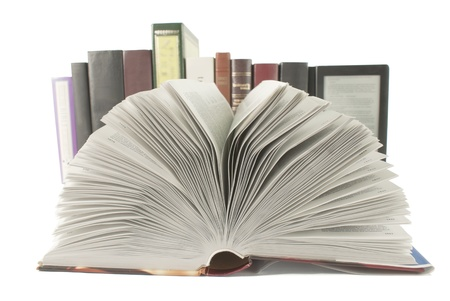 digitized: Open book with a row of books and ebook behind it on white background