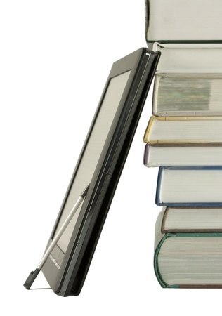 Stack of books and electronic book reader on the white background Stock Photo - 9639821