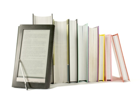 info: Row of printed books with electronic book reader on white background Stock Photo