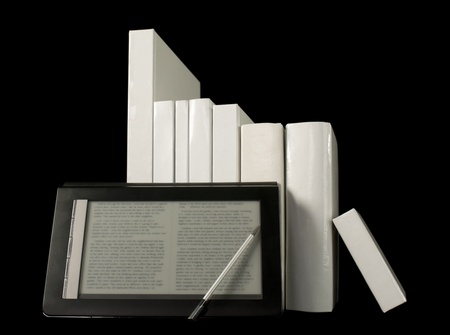 Row of printed books with electronic book reader on black background Stock Photo - 9694513