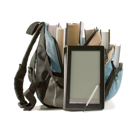 Electronic book with books in backpack on the white background photo