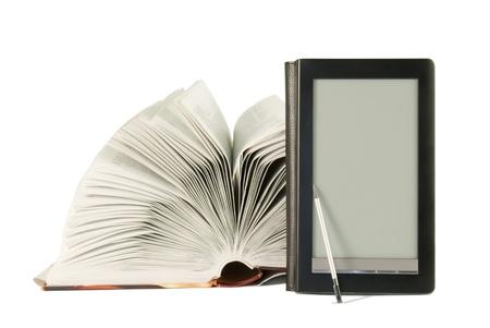 Open book and e-book reader Stock Photo - 9805893