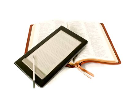 Electronic book reader laying on the Bible Stock Photo - 9805900