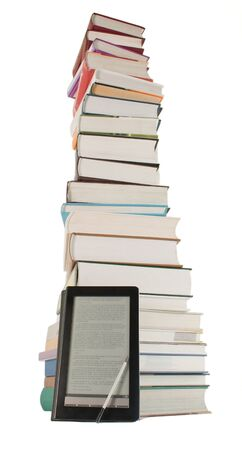 Tall stack of books and e-book reader on the white background Stock Photo - 9805925
