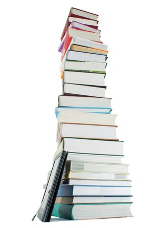 Tall stack of books and e-book reader on the white background Stock Photo - 9925261