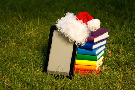 Electronic book reader wearing Santa photo