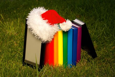 Electronic book reader wearing Santa Stock Photo - 10612487