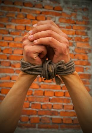 derechos humanos: Manos atado con una cuerda contra el muro de ladrillo
