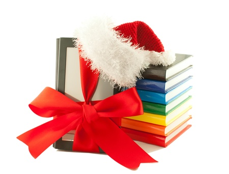 Electronic book reader wearing Santa Stock Photo - 11370065