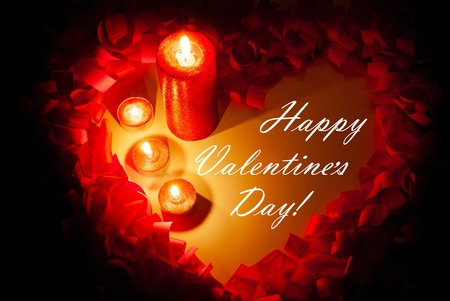 St. Valentine's day greeting background with four burning candles Stock Photo - 11370101