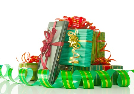 Christmas presents against white background Stock Photo - 11593265