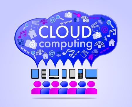 palmtop: Cloud computing concept illustration Illustration