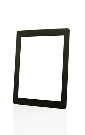 Tablet PC over white background - electronic library concept Stock Photo