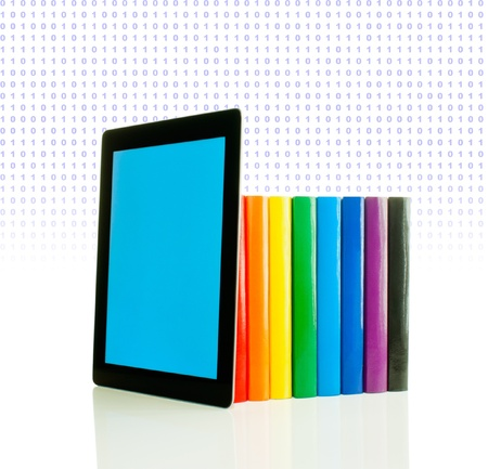 Row of colorful books and tablet PC over white background Stock Photo - 11885508