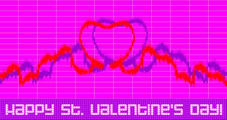 세인트 발렌타인 인사말 - 금융 그래프 모방 스톡 콘텐츠
