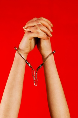 Handcuffed woman photo