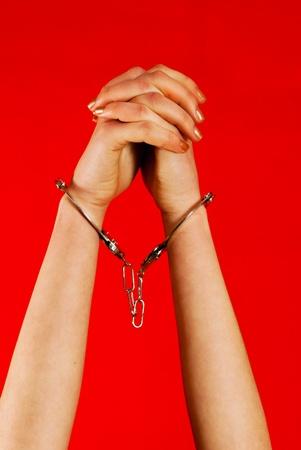 handcuffs: Handcuffed woman