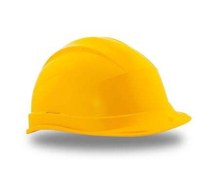protective: Yellow protective construction helmet  over white background