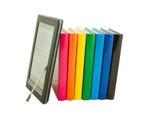 Stack of colorful books and electronic book reader on the white background Stock Photo - 12166569